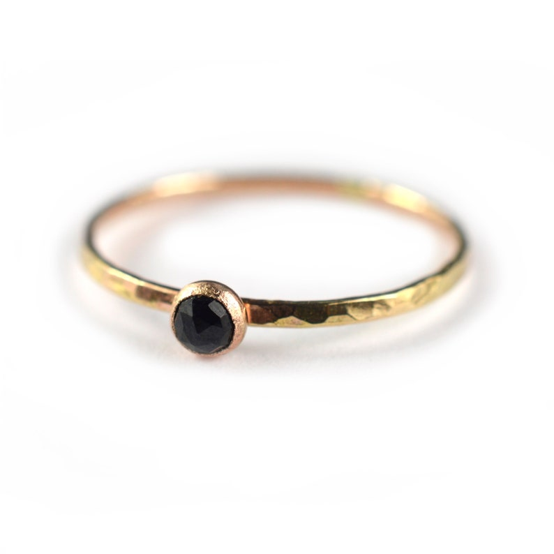 Gold Stacking Ring SINGLE RING SGRROS-G Delicate Minimalist Jewelry Black Spinel Ring Gemstone Skinny Ring