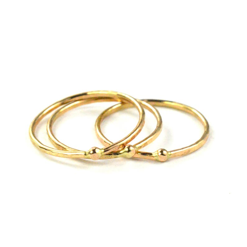 Hammered Bead Ring Gold Skinny Ring SINGLE RING HSRBEAD