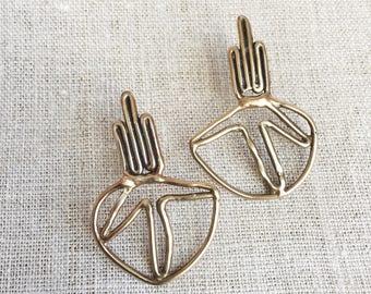bronze earrings, statement earrings, brass statement earrings, gold post earrings, bohemian earrings, cactus earrings, BIPOC owned shop