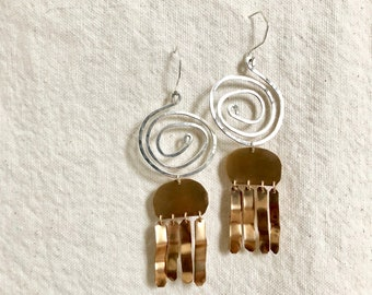 gold statement earrings, bold earrings, bohemian earrings, spiral earrings, statement dangle earrings, silver and gold earrings