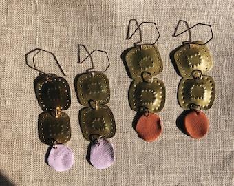 brass earrings, polymer clay earrings, clay and brass earrings, statement earrings, purple, brown earrings, drop earrings, BIPOC owned shop