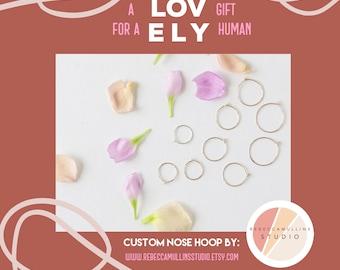 GIFT, custom nose hoop, thin nose ring, thin nose hoop, rose gold nose ring, gold nose hoop, thin nose ring hoop, 26g nose hoop