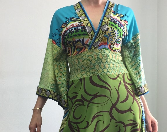 Kimono Maxi Dress - Green and Turquoise