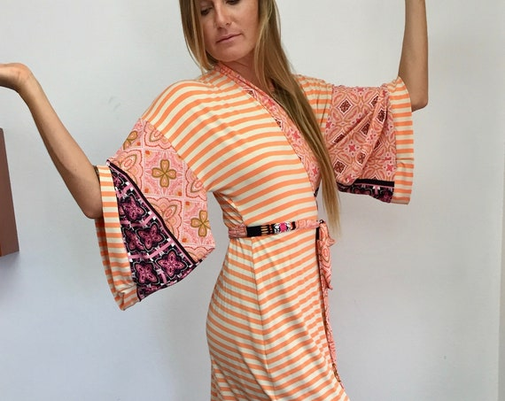 Kimono Wrap Dress - Creamsicle