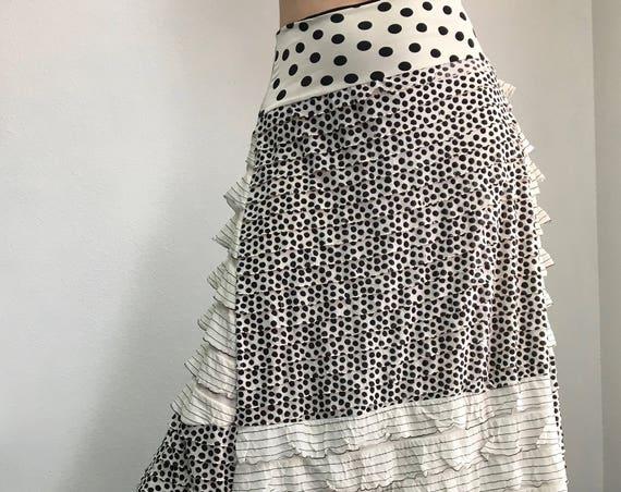 Mixed Ruffle Maxi Skirt - M/L - BOHO, one of a kind, handmade