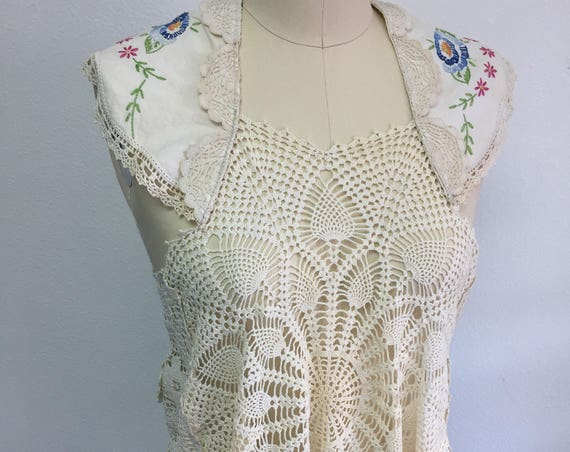 Vintage BOHO Doily Lace Topper with Crewel Detailing - bridal, one of a kind, bohemian, gypsy, wedding