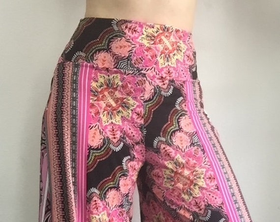 Palazzo Pant - Pink and Black Floral and Paisley
