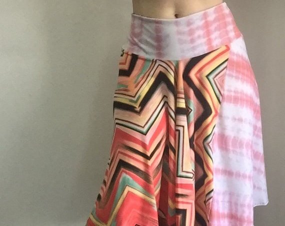 High Waisted Patchwork Circle Skirt - pink and coral