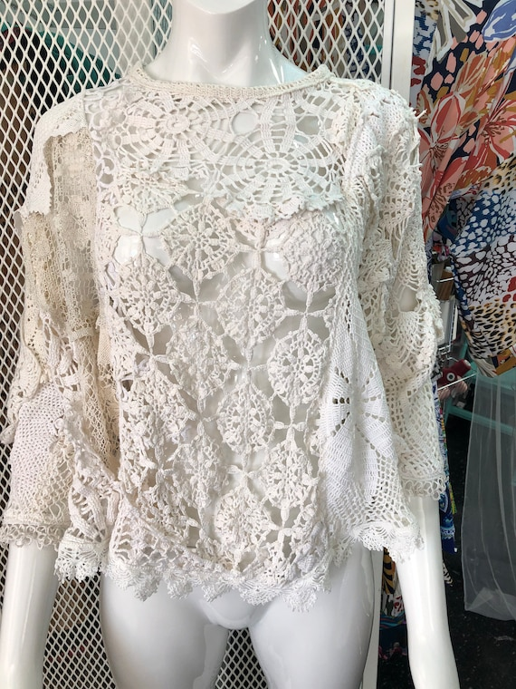 Unique and chic lace sweatshirt- White and ivory