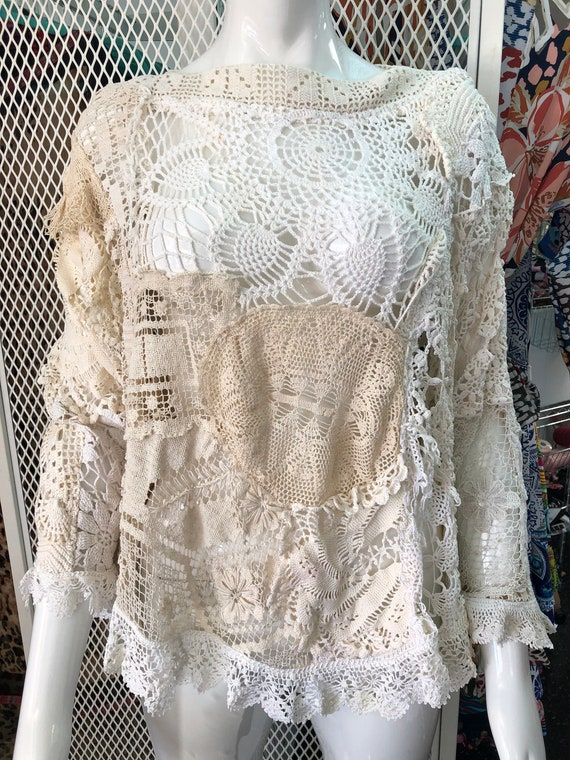 Unique and chic lace sweatshirt- ivory