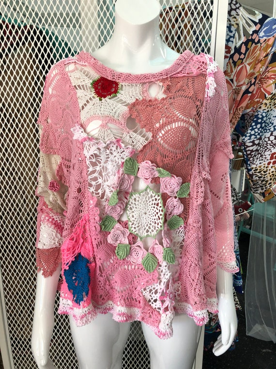 Unique and Chic Lace Sweatshirt- pink