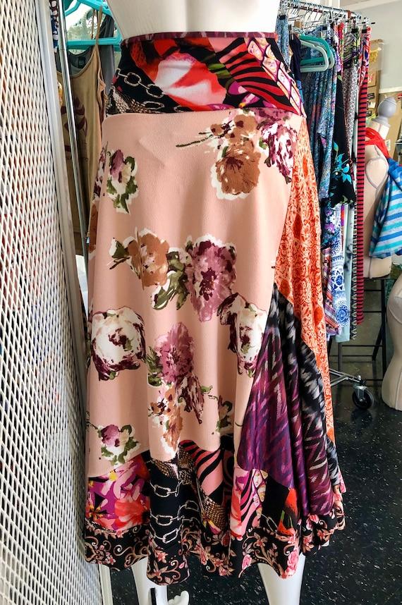 Patchwork Swing Skirt- vintage rose