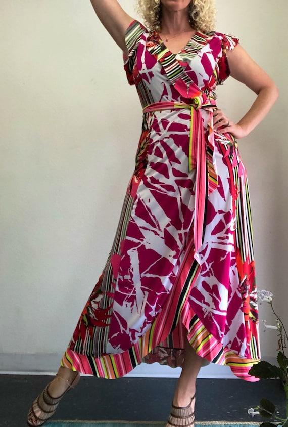 Pink Punch Flounced Wrap Dress