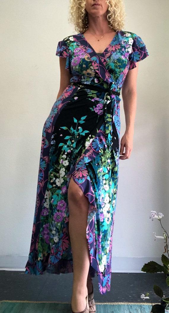 Dark Garden Flounced Wrap Dress