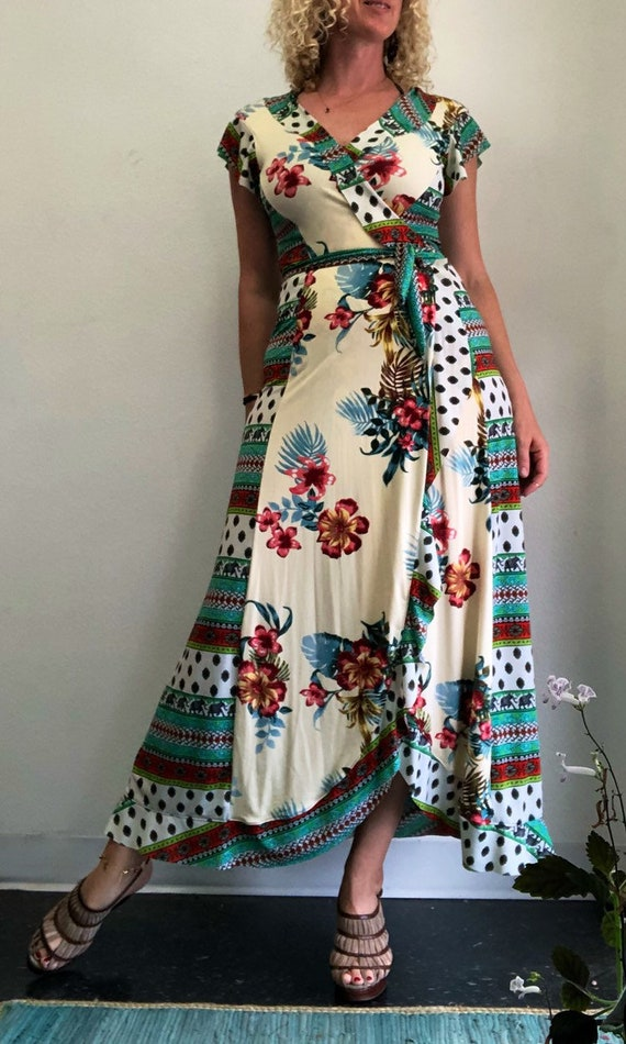 Tropical Delights Flounced Wrap Dress