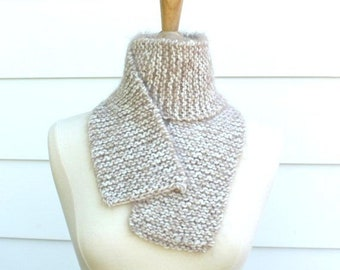 Beige knit scarf, fuzzy knitted scarf handmade, birthday gift for mom