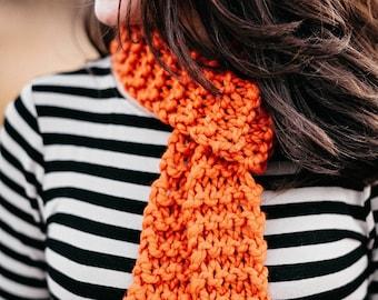Chunky scarf, pumpkin orange knitted scarf, knit skinny scarf, chunky knit scarf, boho scarf, gift for her, best friend gift girlfriend gift