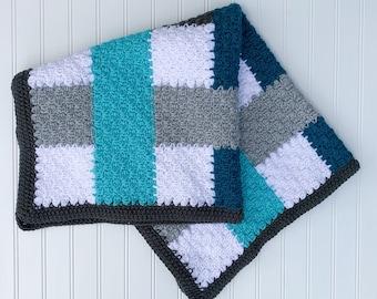 Crochet baby blanket - modern crochet blanket - baby afghan - gray, blue, and white baby blanket - baby boy blanket - baby shower gift