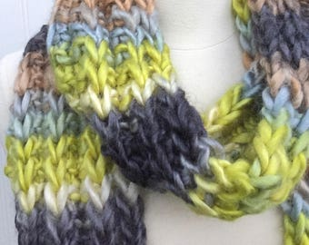 Chunky knit scarf, long scarf, lime green and brown, bulky scarves, lime green scarf, gift for her, winter scarf, gift for him