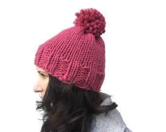 Chunky knit hat pattern, knitting pattern, womens hat pattern, knit winter hat pattern, winter hat for women, knit hat with pompom
