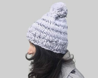 White winter hat, chunky knit hat, gray and white hat, knit pompom hat, knit womens hat, warm winter hat, knit hat with pompom