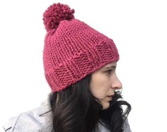 Pink knit hat for her, knit beanie hat, hand knit hat, womens knit hat, pompom hat, womens winter hat with pom pom, mothers day gift