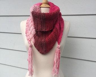 Pink crochet oversized scarf, pink oversized scarf, pink crochet neck warmer, boho triangle scarf, crochet triangle scarf with tassels