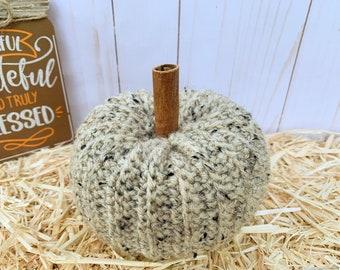 Beige crochet pumpkin - crochet decor - fall decor - Halloween decorations - pumpkin decor - fall wedding favors