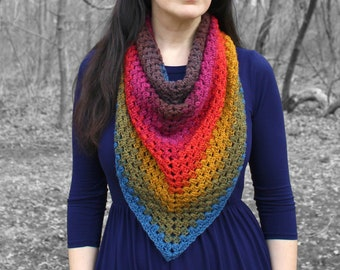 Rainbow Triangle Scarf - Crocheted Gift for Her - Knitted Gift for Mom - Vegan friendly shawl - Boho triangle shawl - Chunky oversized scarf