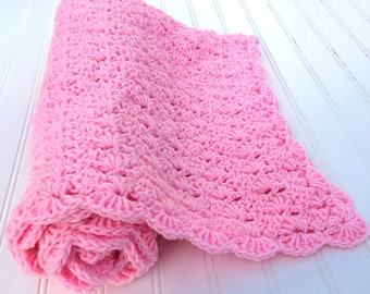 Pink baby blanket, baby girl blanket, carseat blanket, pink baby bedding, crochet baby blanket, newborn baby gift, baby shower gift