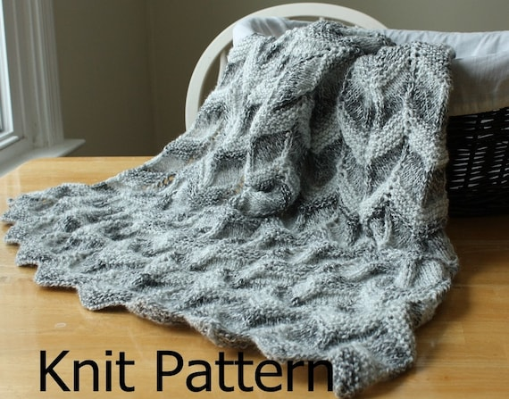 Knit Baby Blanket Pattern Knit Chevron Baby Blanket Pattern Etsy Simple Baby Blanket Patterns Knitting
