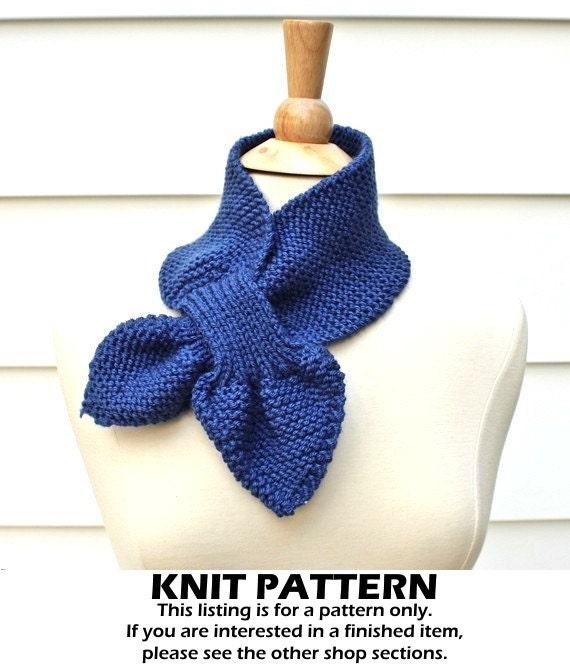 Keyhole Scarf Knitting Pattern Knit Ascot Scarf Pattern Etsy