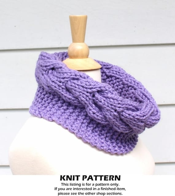 Knit Cable Cowl Pattern Knit Circle Scarf Pattern Horseshoe Etsy