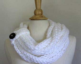Hand knit chunky cowl scarf, Bright white infinity scarf with button closure,  circle scarf, women's winter accessory,