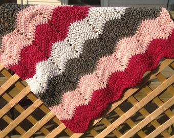 Crochet baby blanket, crochet afghan, chevron baby afghan, pink baby blanket, newborn girl gift, baby shower gift, pink and gray