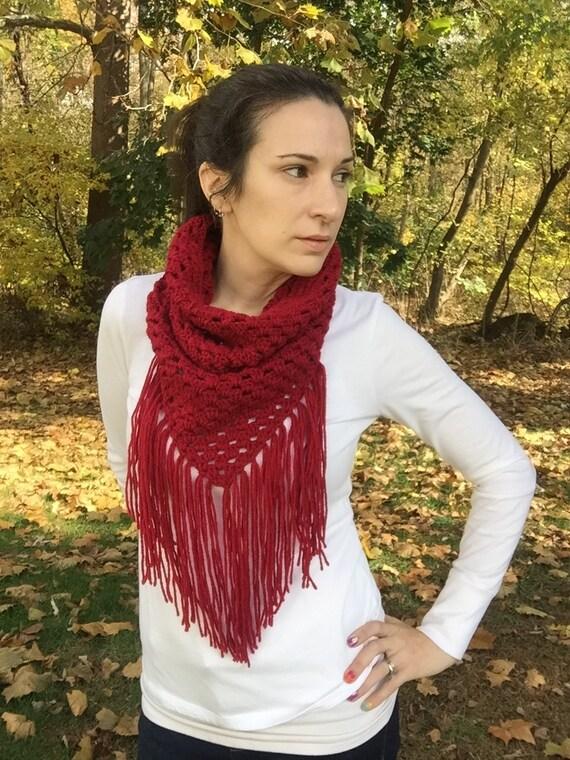 Rotes Dreieck Schal mit Fransen rot häkeln Schal Schal   Etsy