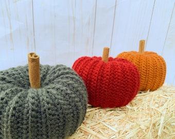 Crochet pumpkin decor - set of 3 - fall decor - knitted pumpkins - Halloween decorations - fall wedding centerpieces