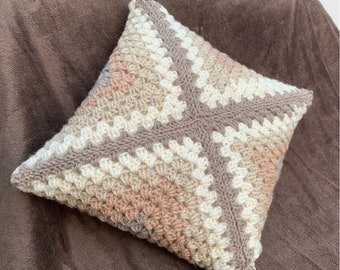 Beige Crochet Pillow - Beige Throw Pillow - Granny Square Pillow - Granny Square Crochet - Reversible Throw Pillow - Beige Boho Throw Pillow