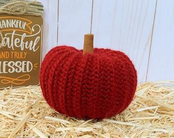 Crochet pumpkin - cranberry red - pumpkin decor - crochet decor - fall decor - Halloween decorations - fall wedding decor