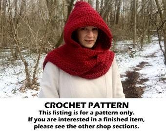 Crochet hooded scarf pattern, crochet scoodie pattern, crochet scarf pattern, crochet scarf with hood pattern, crochet chunky scarf