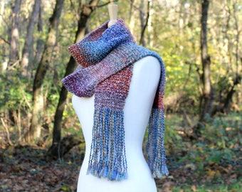 Rainbow knit scarf for women - women's scarves - handmade scarf women - winter scarf - fringe trim - Christmas gift for sister