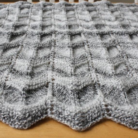 Knit Baby Blanket Pattern knit chevron baby blanket pattern | Etsy