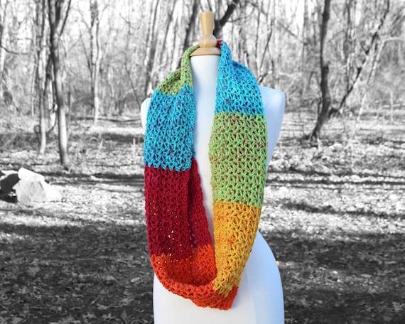 Regenbogen stricken Schal häkeln Unendlichkeit Schal | Etsy