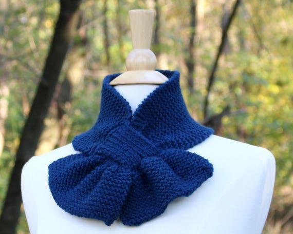 Midnight Blue Schal dunkelblau Strickschal Ascot | Etsy