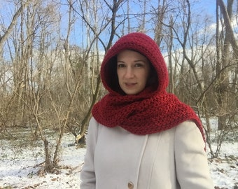 Hooded scarf - crochet scarf with hood - scoodie - hoodie scarf - red hood - crochet scarf women - Christmas gift for mom