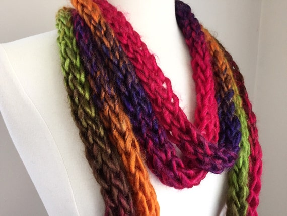 Regenbogen Statementkette klobige knit Kette Kette   Etsy