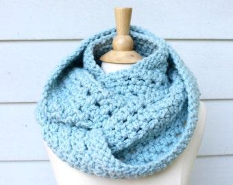 blue crochet scarf, blue crochet cowl, crochet chunky cowl, crochet chunky scarf, crochet infinity scarf, light blue scarf, light blue cowl
