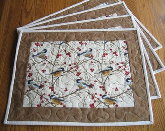 Quilted Placemats Chickadees Birds Red Berries - Set of 4