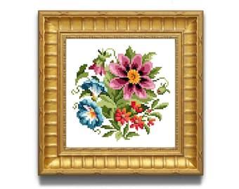 Pretty Flowers.  Flower cross stitch pattern. Instant download PDF.