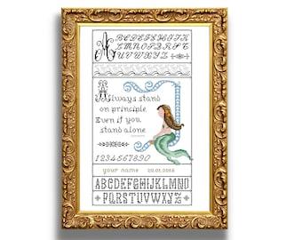 Mermaid sampler. Cross stitch sampler design. Antique alphabets and original design. Instant download PDF.